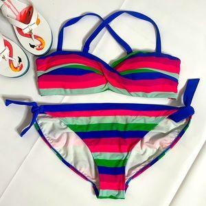 Boden striped bikini EUC